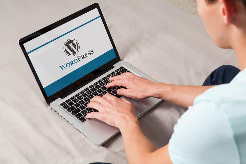 Mann sitzt am IBook und bearbeitet eine WordPress Webseite.